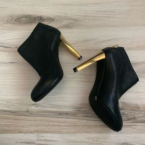 Tory Burch Shoes - Tory Burch Black Leather Gold Heel Ankle Booties